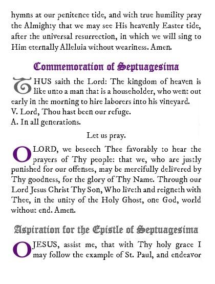Septuagesima Prayers and Devotions